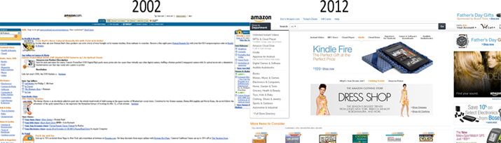 Amazon website evolution