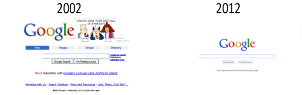 Google Website Evolution