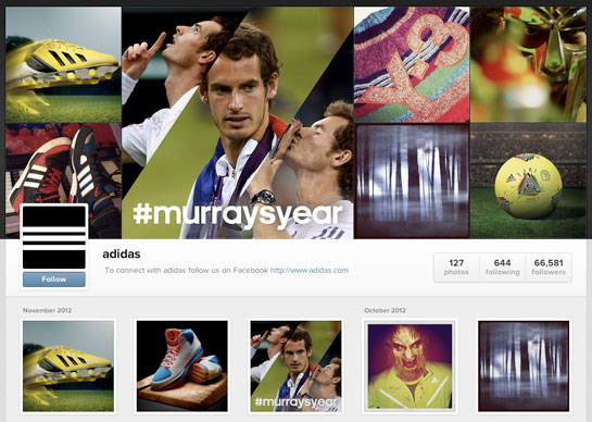Adidas' Instagram Web Profile
